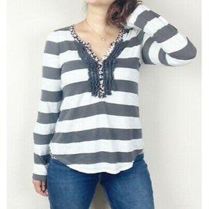 Anthropologie Postmark Striped Floral Ruffle Top